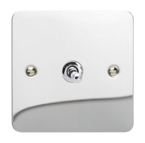 Varilight XFCT1 Ultraflat Polished Chrome 1 Gang 10A 1 or 2 Way Toggle Light Switch